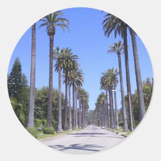 Palmeiras em uma rua em Los Angeles Adesivo