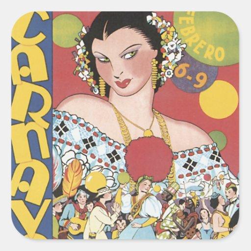 Panamá Carnaval 1937 Adesivo Quadrado