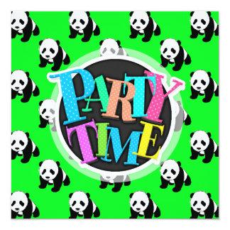 Panda bonito; Verde, preto & branco de néon Convite Quadrado 13.35 X 13.35cm