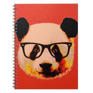 Panda com vidros no vermelho cadernos espiral