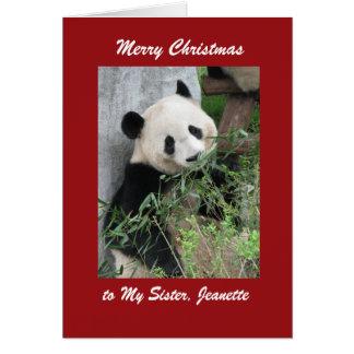 Panda do cartão do Feliz Natal, beira vermelha
