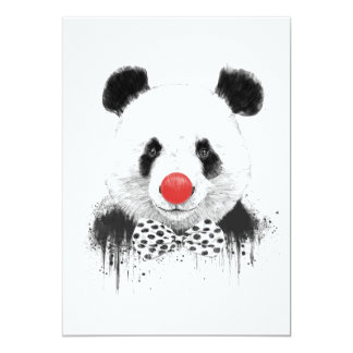 Panda do palhaço convite 12.7 x 17.78cm