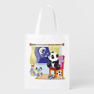 panda dos desenhos animados sacola reusável