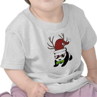 Panda engraçada do Natal do hipster com antlers T-shirt