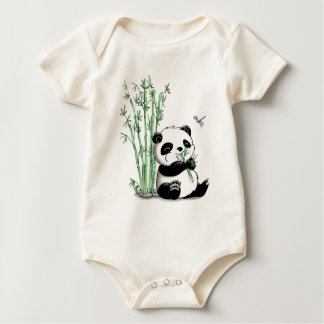 Panda que come o bambu body para bebê