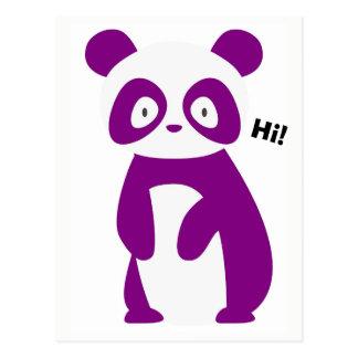 Panda roxa que diz olá!! Cartão