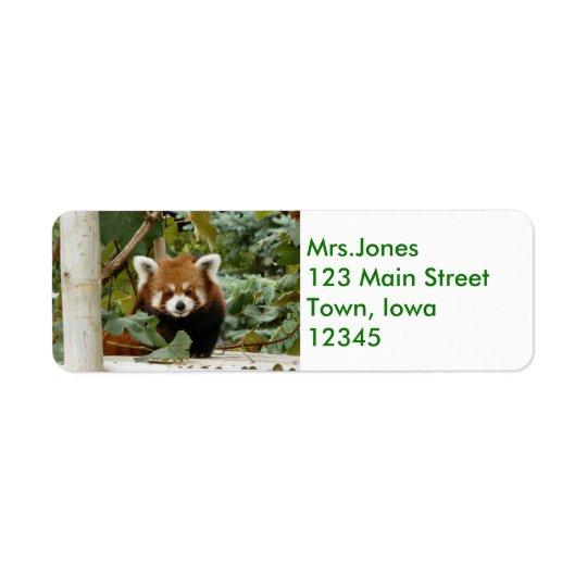 Panda vermelha etiqueta endereço de retorno