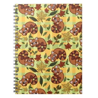 Panda vermelha frondosa caderno
