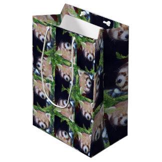Panda vermelha sacola para presentes média