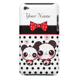 Pandas de Kawaii com arco vermelho em bolinhas Capa Para iPod Touch