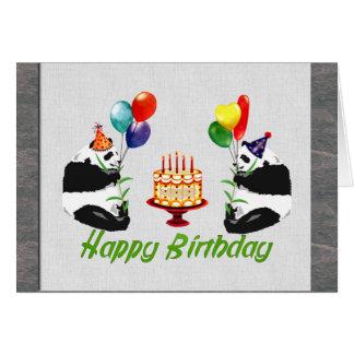 Pandas do aniversário cartoes