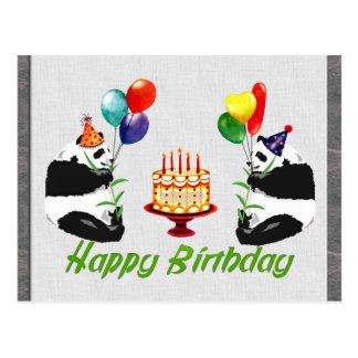 Pandas do aniversário cartão postal