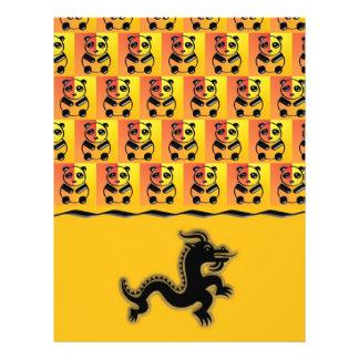 Pandas e dragão panfleto coloridos