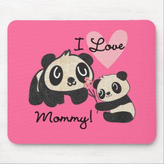 Pandas eu amo mamães mouse pad