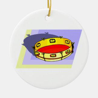 Pandeiro, amarelo, de cabeça para baixo com parte  enfeite para arvore de natal