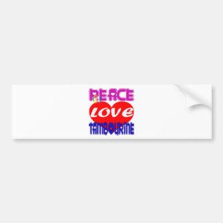 Pandeiro do amor da paz adesivo