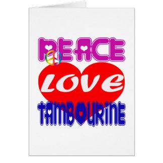 Pandeiro do amor da paz cartao