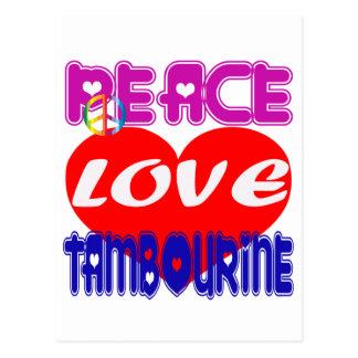 Pandeiro do amor da paz cartão postal