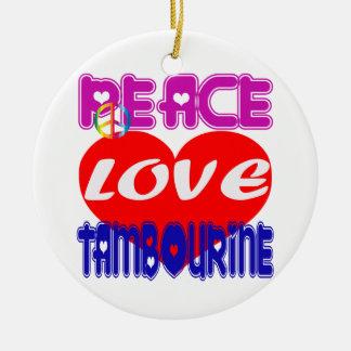 Pandeiro do amor da paz ornamento para arvore de natal