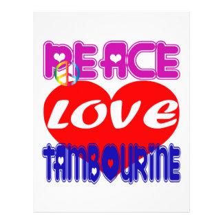Pandeiro do amor da paz papel de carta personalizados