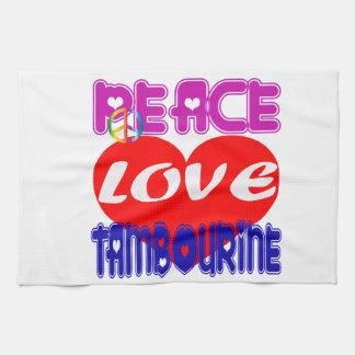 Pandeiro do amor da paz toalhas de mão