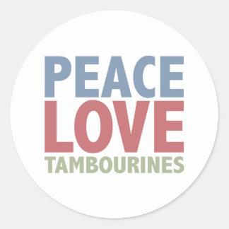 Pandeiros do amor da paz adesivo