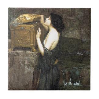 Pandora [John William Waterhouse] Azulejo Quadrado Pequeno