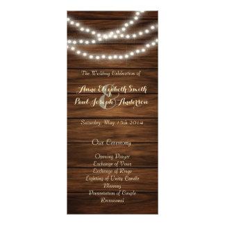Panfleto A corda ilumina o programa de madeira do casamento