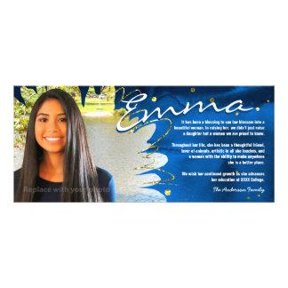 Panfleto A graduação personalizada carda   azul & ouro