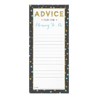 Panfleto Advice Card for Mom-To-Be, Baby Shower Faux Gliter