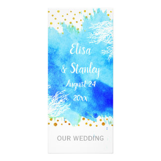 Panfleto Aguarela azul do Aqua, programa do casamento do