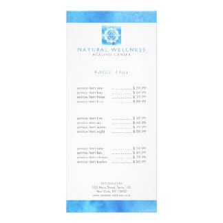 Panfleto Azul floral do logotipo do bem-estar da grade