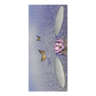 Panfleto Borboletas em vôo em uma paisagem do zen