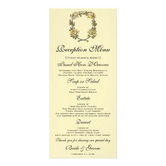 Panfleto Casamento vintage, grinalda antiga amarela do rosa