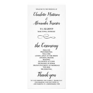 Panfleto Cerimónia de casamento preto e branco mínima