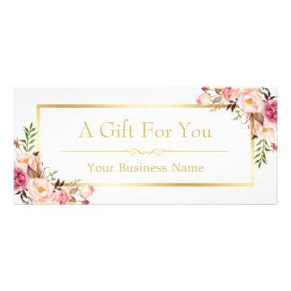Panfleto Certificado de presente floral chique do salão de