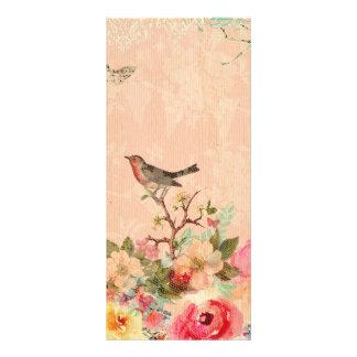 Panfleto Chique, pássaro, borboleta, laço, floral, país ch