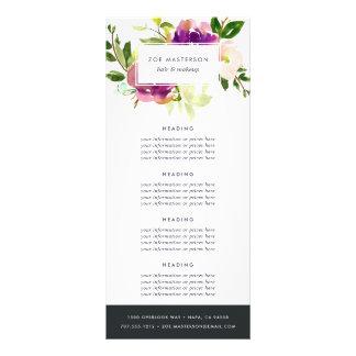 Panfleto Fixação do preço floral/serviços da aguarela