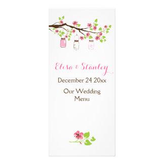 Panfleto Flores de cerejeira cor-de-rosa, frascos de