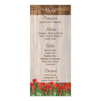 Panfleto Flores vermelhas bonitas da tulipa na madeira -