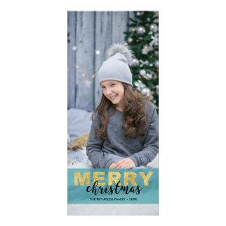 Panfleto Foto azul do Feliz Natal do ouro moderno -