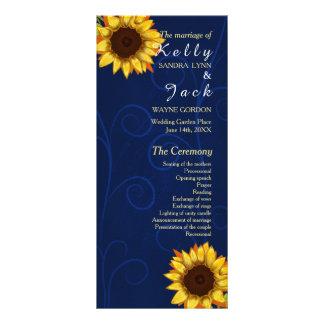 Panfleto Girassol/cartão azul da cremalheira do casamento