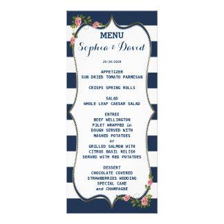 Panfleto Listras de azuis marinhos elegantes que Wedding o