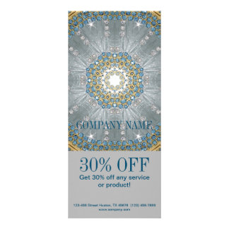 Panfleto mandala do azul da prata da ioga do terapeuta da