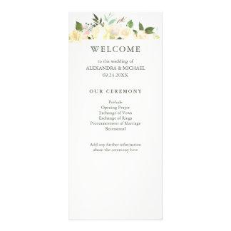 Panfleto Marfim floral com programa verde do casamento da