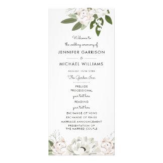 Panfleto O marfim e cora programa dos Sprigs do casamento