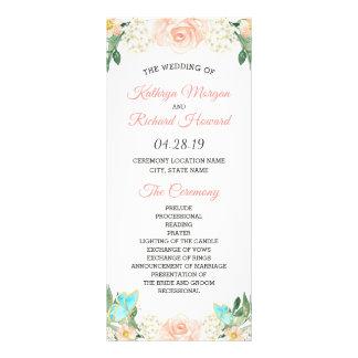 Panfleto O primavera cora programa floral do casamento da
