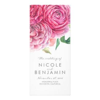 Panfleto O rosa floresce programas elegantes do casamento