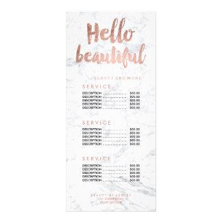 Panfleto Olá! tabela de preços bonita do mármore da