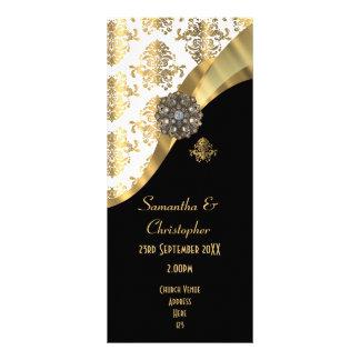 Panfleto Ouro e programa preto do casamento da igreja do